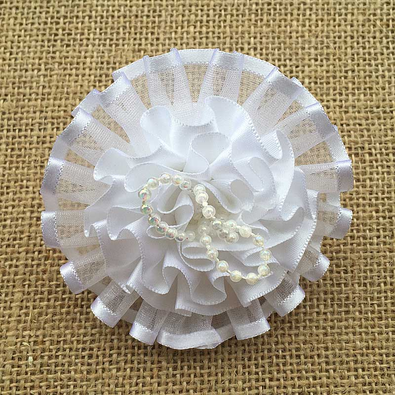 2pcs HOT SALE Fashion hair accesories white bow bows lace tulle chiffon flowers imitation pearl elastic flower hair rope band(China (Mainland))
