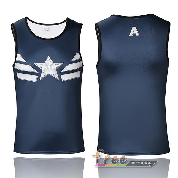 Super Hero Avenger Captain Navy Blue Captain America Sport Vest Summer Athletic Shirt Men Running Shirt Fitness Clothing(China (Mainland))