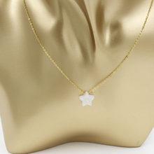 Fnixtar 1mm זהב צבע נירוסטה כוכב אופל חרוזים שרשרת מעשה ידי אדם אופל תליון שרשרת 45cm + 5cm extender 2 יחידות\חבילה(China)