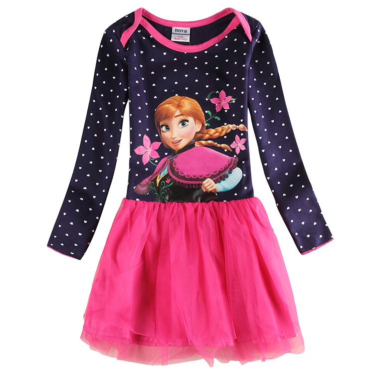 Anna elsa princess dress girls dress children clothing casual dresses clothes girls long sleeve lace dresses clothing H5320<br><br>Aliexpress