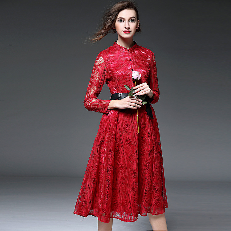 The new spring 2016 European high-end women's heavy embroidery lace slim dress dress  T7365