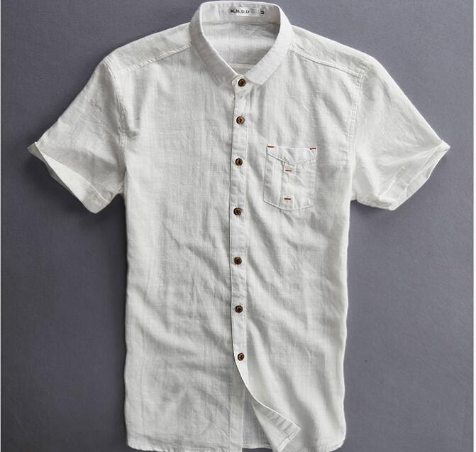 2015 new mens linen shirt short sleeve white dark blue for Mens short sleeve linen dress shirts
