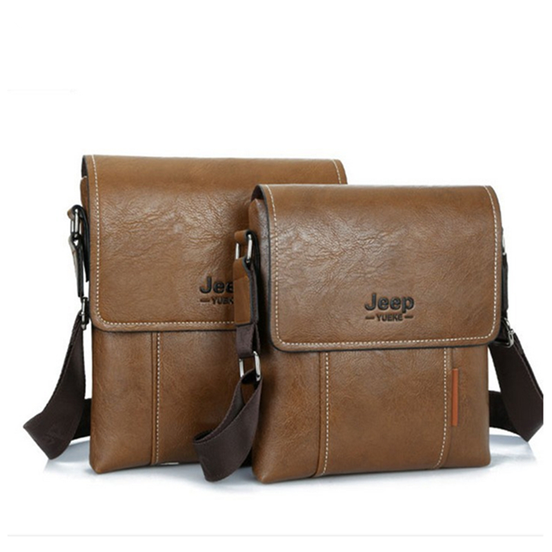 2017 New Men leather famous brand JEEP Messenger Bags Fashion Casual Business small Shoulder bags man,Men's Travel Bags IPAD