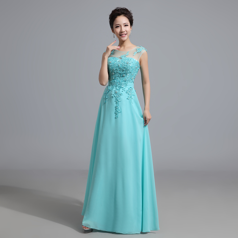 2015 Cheap Long Lace  Red Light Pink Aqua Ice Blue  Ice Blue Yellow  Blush Bridesmaid Dress Wedding Prom Party Dress Under 80