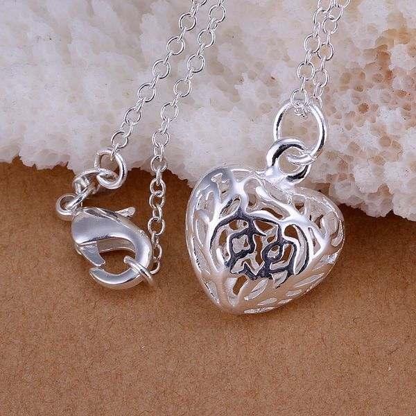 5 925 sterling silver necklace pendants fashion Cute Stereo Heart Necklace Pendant jewelry P111 - Tracy Jewelry store
