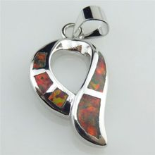 Free Shipping Q20891 Charms Women Silver Tone Lucky Scarf Design Red Australian Opal Pendant(China (Mainland))
