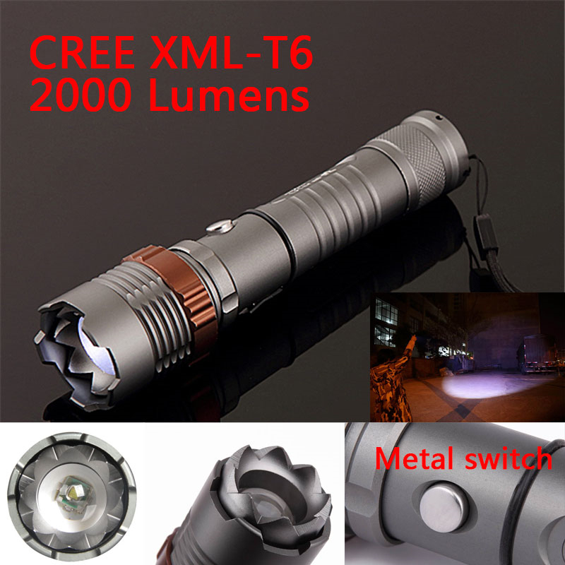 Ultrafire Portable Flash Light CREE XML T6 2000LM 5 Modes LED Zoomable Flashlight Torch Spotlight Lantern For Hunting,Use 18650<br><br>Aliexpress