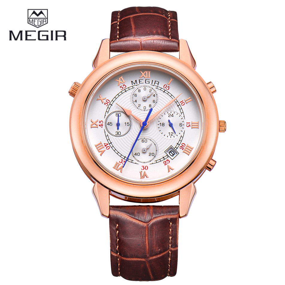 MEGIR Luxury Brand Time Zone Chronograph 24 Hours Quartz Watch Men Steel Case Brown Gold Men Wristwatches Relogio Masculino<br><br>Aliexpress