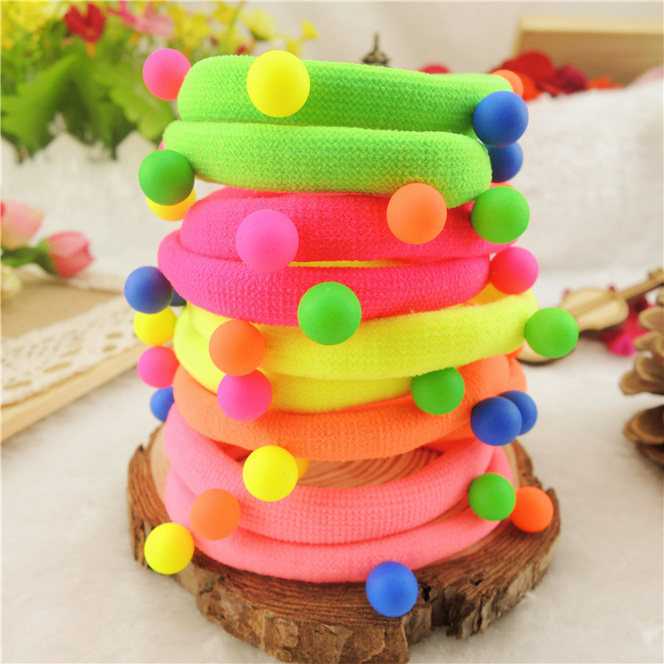 TS 5pcs Candy Colored Rivet Hair Holders High Quality Rubber Bands Hair Elastics Accessories Girl Women Tie Gum(China (Mainland))