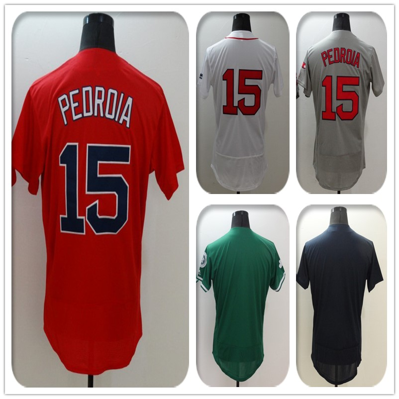 New Fabric Flexbase Version #15 Dustin Pedroia Jersey Blank Color Gray Red Green Navy White Heat-sealed Tagless Jerseys(China (Mainland))