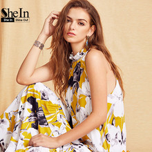 Buy SheIn Womens Summer Long Beach Dresses Boho Ladies New Style Fashion Multicolor Floral Print Sleeveless Maxi Dress for $26.97 in AliExpress store