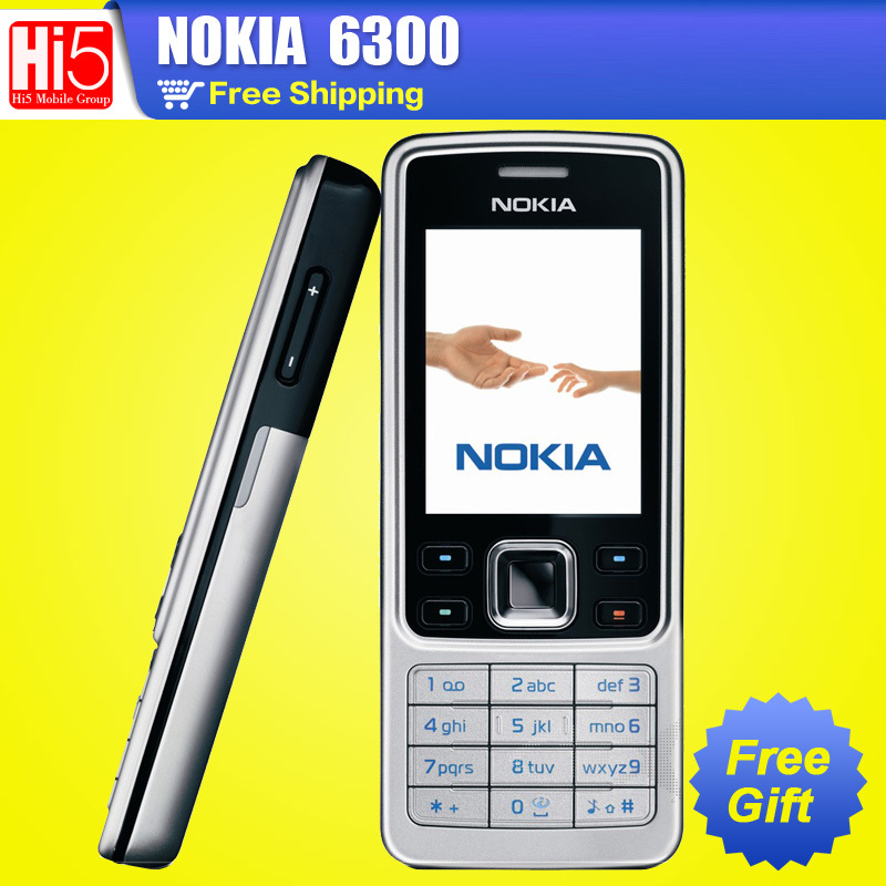 6300 Original Unlocked Nokia 6300 Cell Phone 2MP Camera Radio Refurbished Mobile Phones Russian Arabia Keyboard free Shipping(China (Mainland))