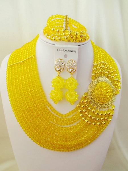 2016 Fashion Nigerian Wedding African Beads Jewelry Set  Crystal Beads Necklace Set  ZWO-00148<br><br>Aliexpress