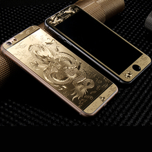 Front+Back Luxury Gold&Silver 3D Painting Full Cover Color Tempered Glass iphone 5 5S 5SE 6 6S Plus Screen Protector Film - Coconiceshop store