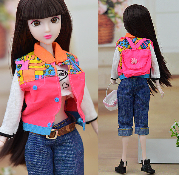 Unique Leisure Put on Go well with Set / T shirt Denims Bag Hat Sneakers Doll Equipment Garments Outfit For Toy Barbie Doll Toys for Woman