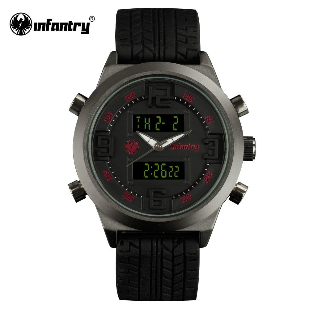 INFANTRY Mens Dual Time Sports Watches LCD Digital Quartz Watches Black Rubber Mens Clock Relogio Masculino 2016(Hong Kong)