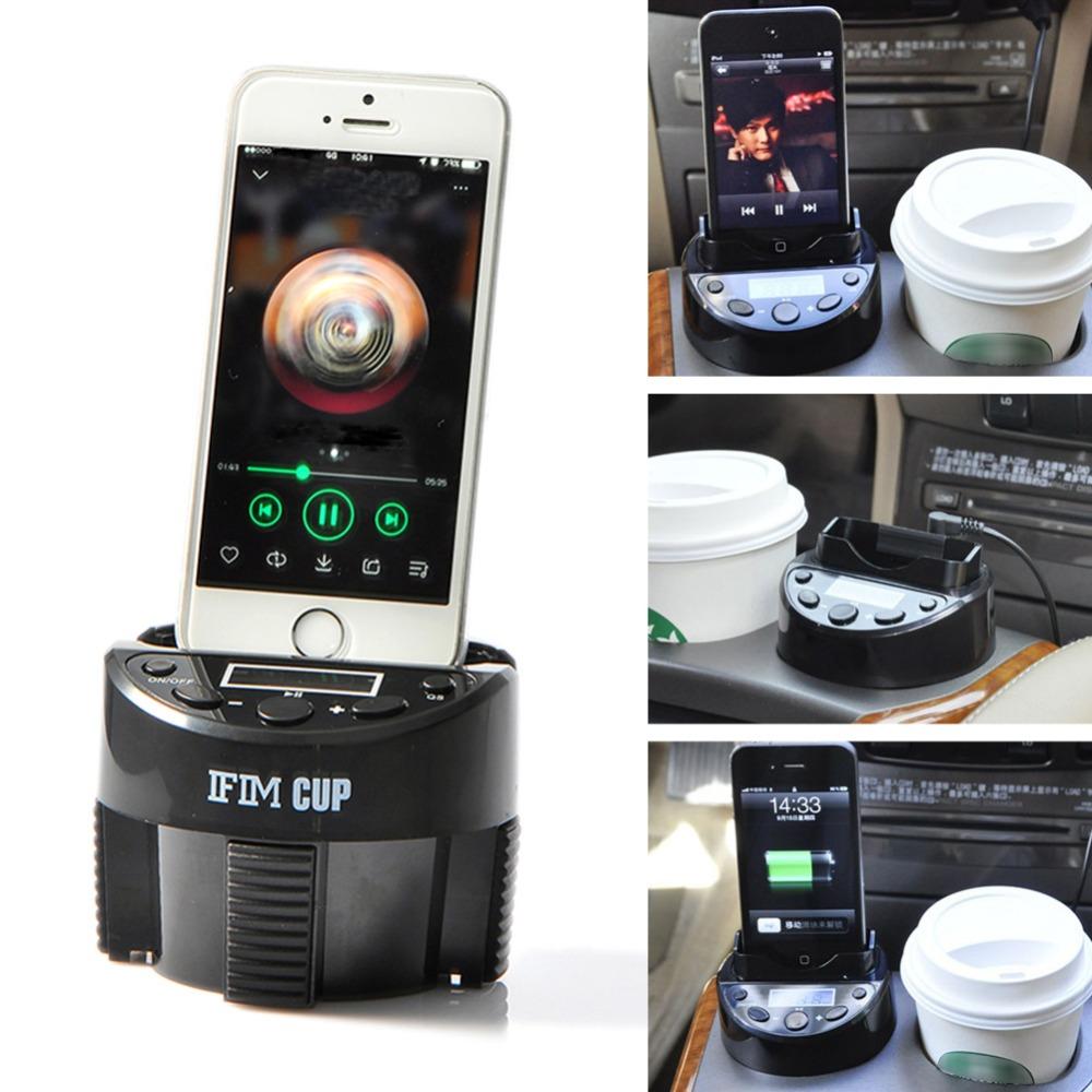 Car Kit MP3 Music Player Speaker Wireless FM Transmitter Radio Modulator with Phone Holder for iPhone 5/6/6 6s Plus FreeShipping(China (Mainland))