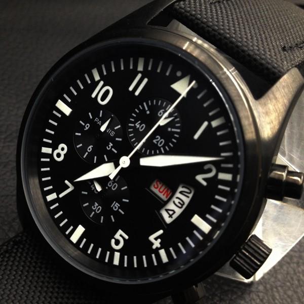Парнис 42 мм Пилот Хронограф Черный Циферблат Корпус Из Нержавеющей Стали Наручные Часы Белый Номер
