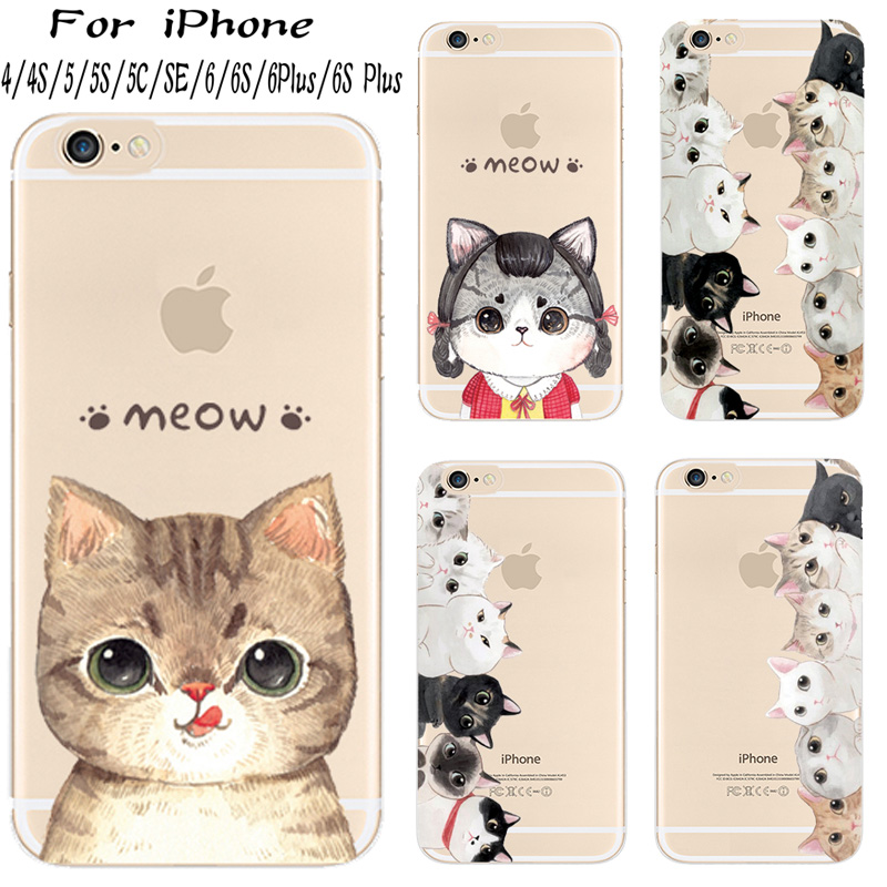Hard Plastic Cover For Apple iPhone 4 4S 5 5S 5C SE 6 6S Plus + Case Cases Phone Shell Coated With The Cat Charm Luxury Phone(China (Mainland))