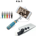 4in1 Selfie Stick Lente 3in1 lenses fish eye Fisheye 0 67x Wide Macro lens Selfie Stick