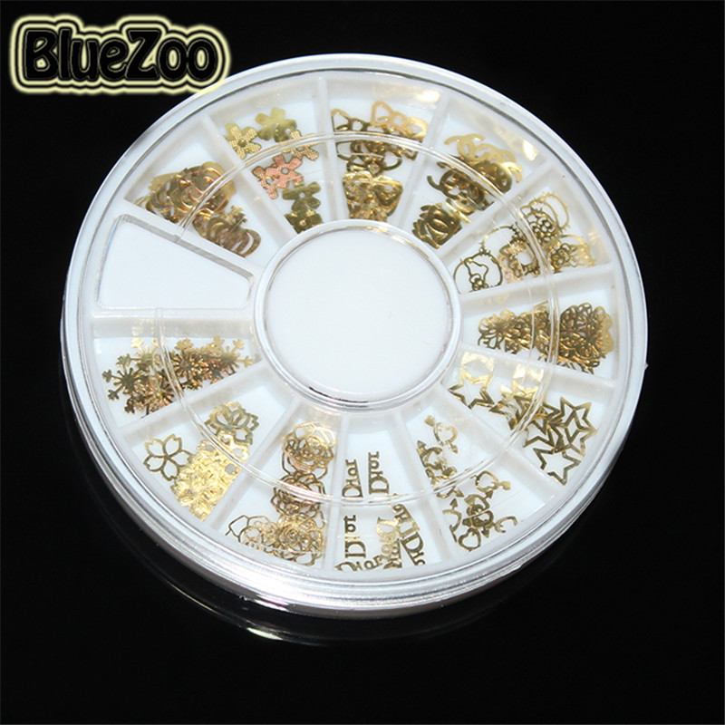 BlueZoo New Wheel 120pcs Gold Nail Art Sticker Decoration Acrylic Tips Metal Slice Wheel Tiny Mixed Design