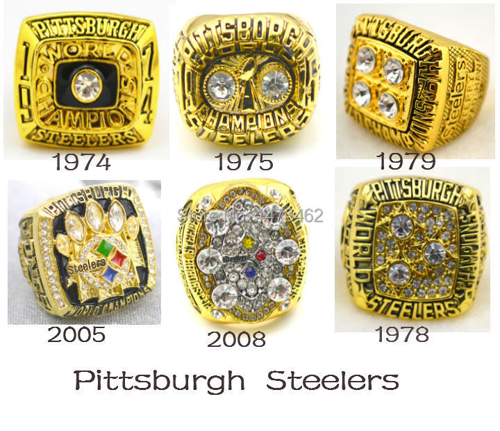 One set 6pcs Replica 1974 1975 1978 1979 2005 2008 Pittsburgh Steelers Super Bowl Championship Rings together solid(China (Mainland))