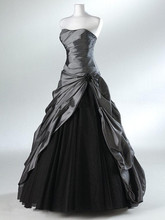Vintage Style Strapless Taffeta Tulle A-Line Black Wedding Dress Bridal Gowns Custom Made Size 2 4 6 8 10 12 14 16 18+ W816(China (Mainland))