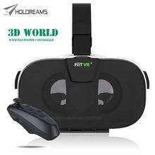 2016 Fiit VR Virtual Reality Smartphone 3D Glasses Google Cardboard Rift Head Mount Video Helmet for 4.0-6.5 + Bluetooth Remote