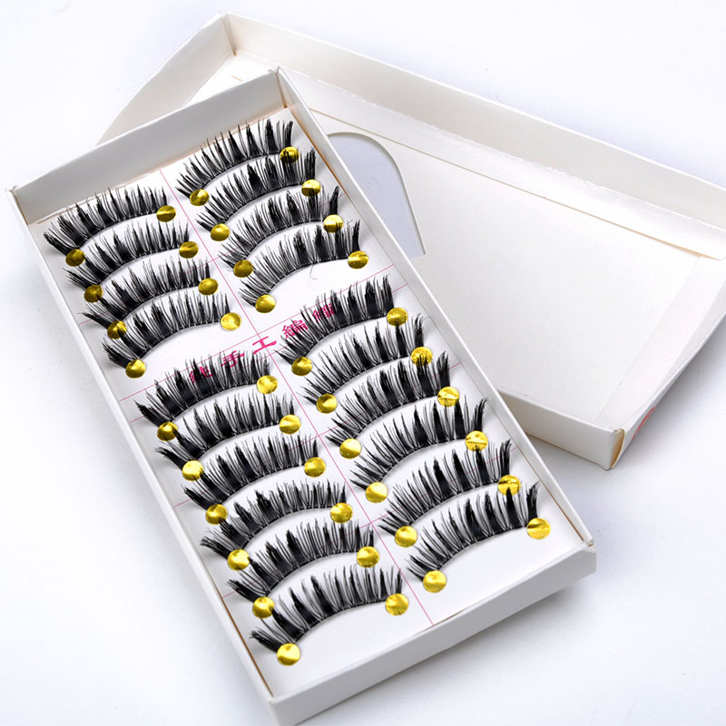 Makeup Tips Voluminous Makeup False Eyelashes 10 pairs/set Long Thick Fake Eye Lashes PHJ1008W*55(China (Mainland))