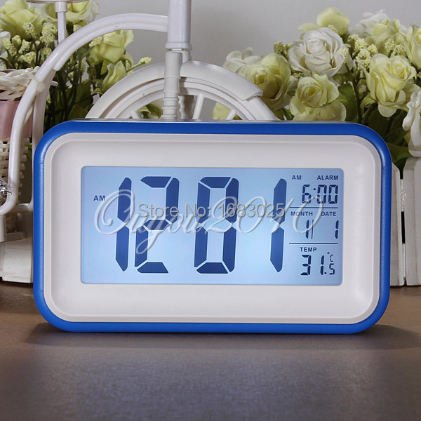 New High Quality Multi-color Choice Snooze Digital Touch Large LCD LED Desk Alarm Clock With Thermometer Calender(China (Mainland))