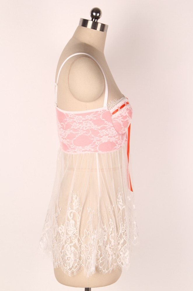 R80046 Hot sale see through nightwear lace sexy lingerie popular sex lingerie with bow wholesale and retail ladies sexy babydoll