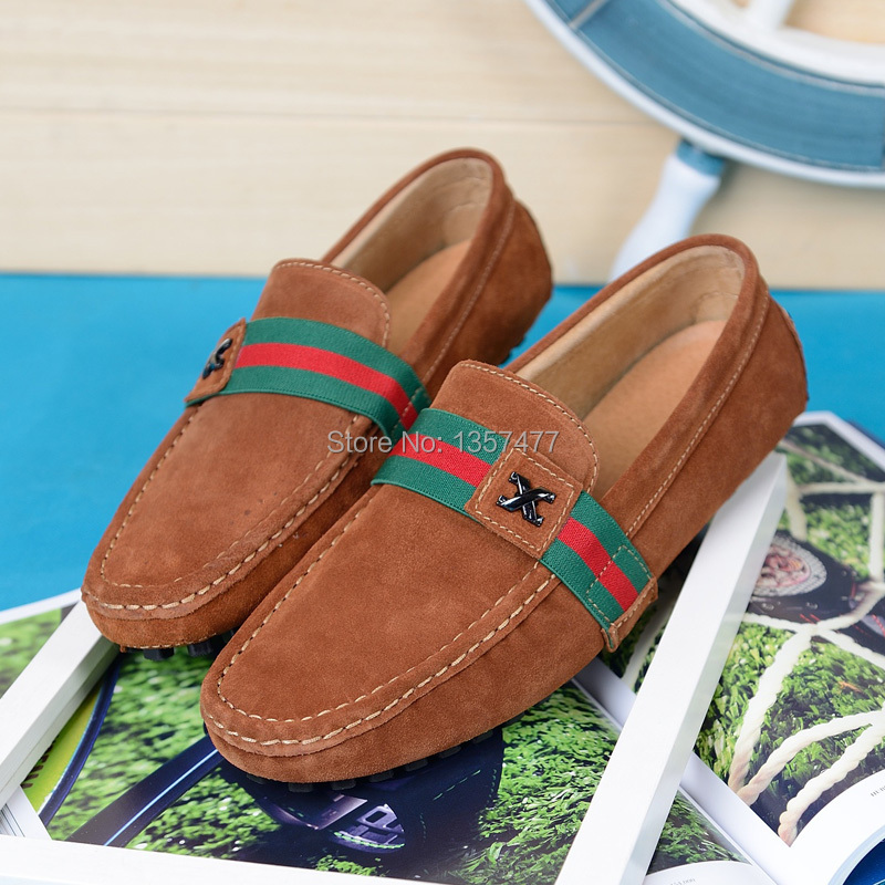 Mix Color Letter X Comfortable Genuine Leather Suede Mens Fashion Style Canvas Driving Loafers Boat Shoes In Rubber Sole(China (Mainland))