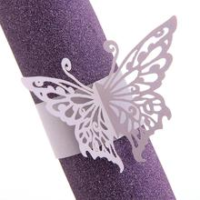 50x Napkin Butterfly Ring Paper Holder Table Party Wedding Favors Purple(China (Mainland))