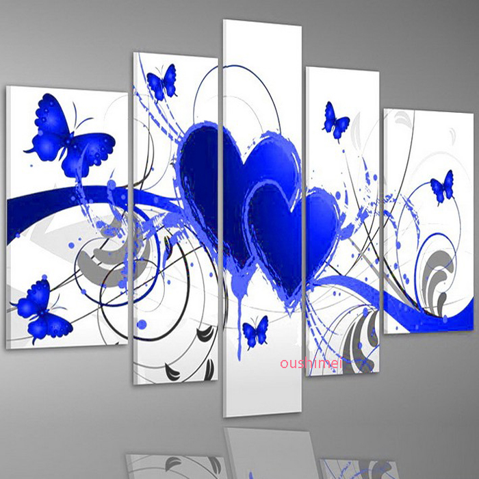 Hand-painted Modern Landscape Oil Painting 5pcs/set Blue Flower Love Butterfly Picture For Living Room Abstract Paintings