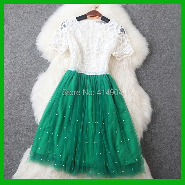 Europe United States Heavy Beaded Round Neck Short Sleeve Dress Sumer Women 2015 - U-DIsk Factory store