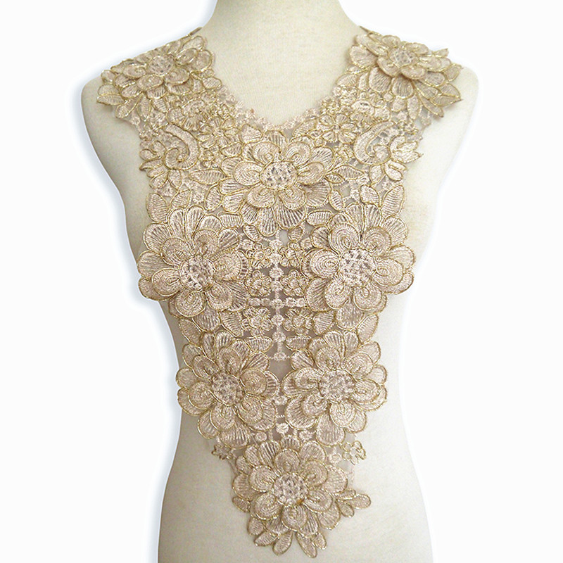 Diy accessory big flower embroidered lace collar decorated