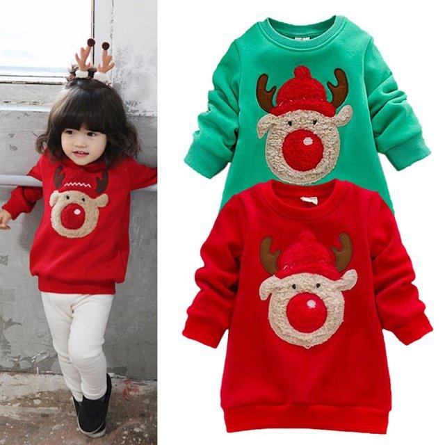 Младенческая Baby Дети Теплые Девушки Chritmas Олень Pattern Толстовки Свитера Одежда 0-3Y ka3155