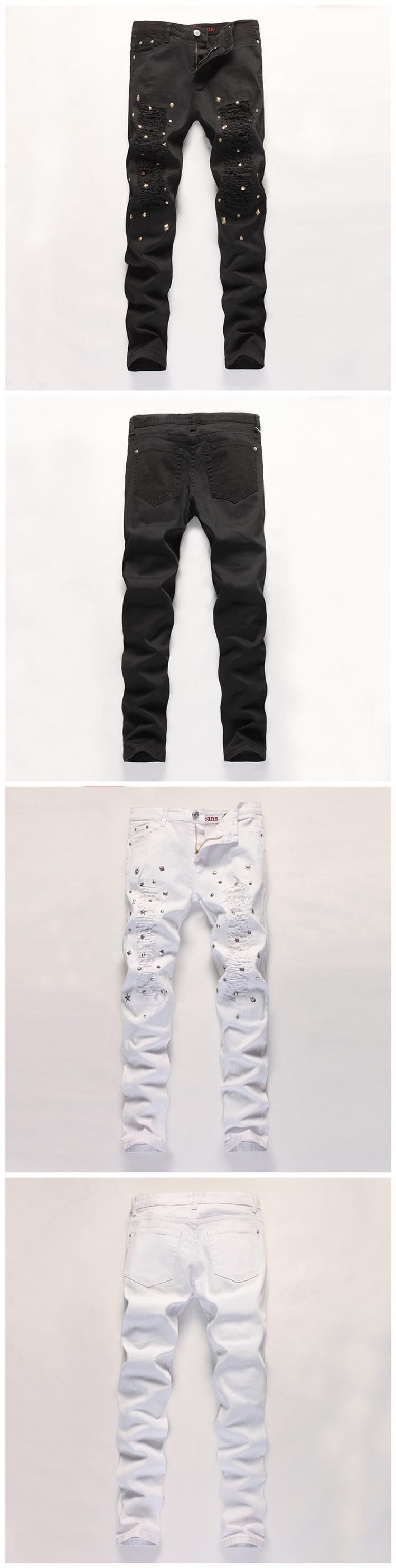 Hot pants playing nail holes Men's jeans Europe and the United States Slim men feet pants Black and white color Size 30-36