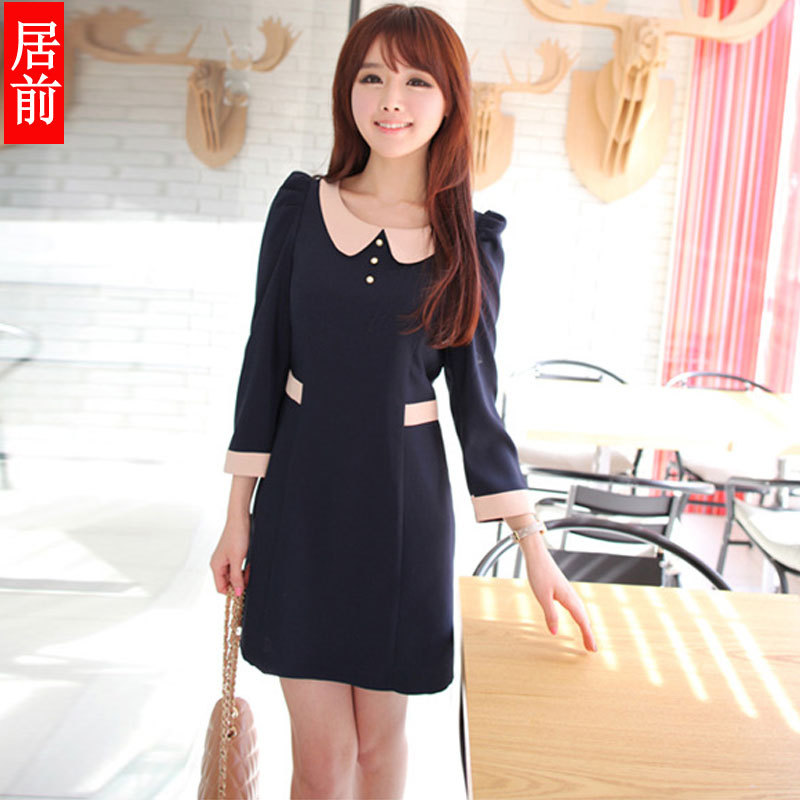 Women's spring elegant n380 gentlewomen peter pan collar slim basic long-sleeve dress princess dress short skirt