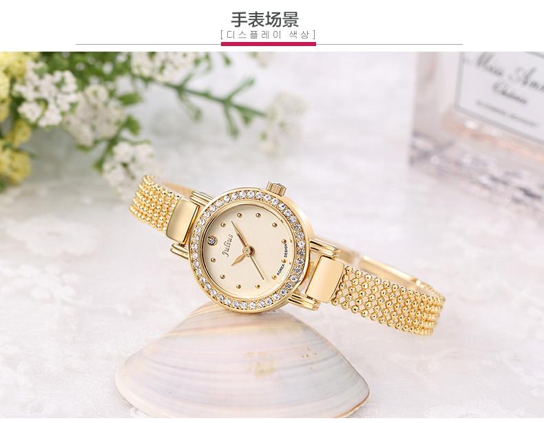 Новый юлий леди женщина наручные часы кварцевых часов лучший мода платье бусины браслет горный хрусталь бизнес девушка подарок на день рождения 804