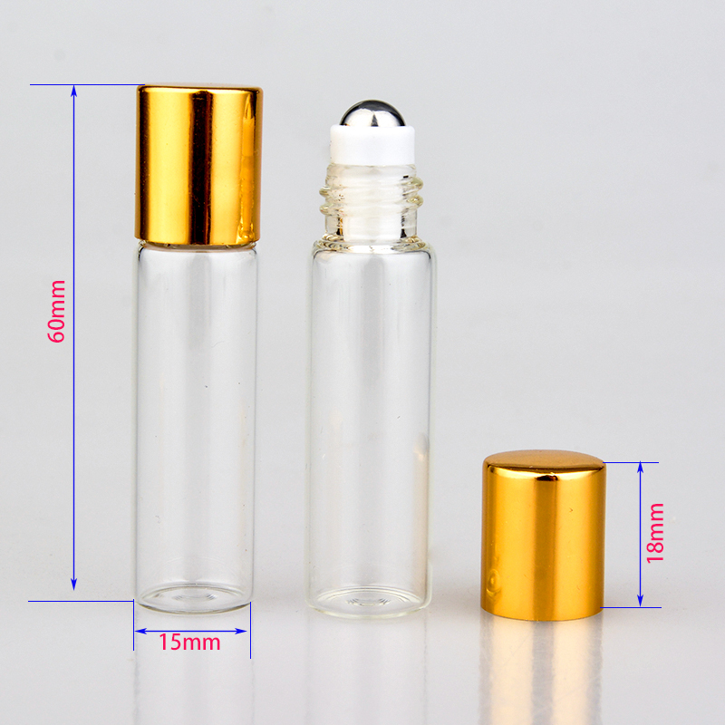 Wholesale 100Pieces/Lot 5ML Mini Glass Portable Perfume Bottle With Steel Roll On Empty Parfum Essential Oils For Traveler(China (Mainland))
