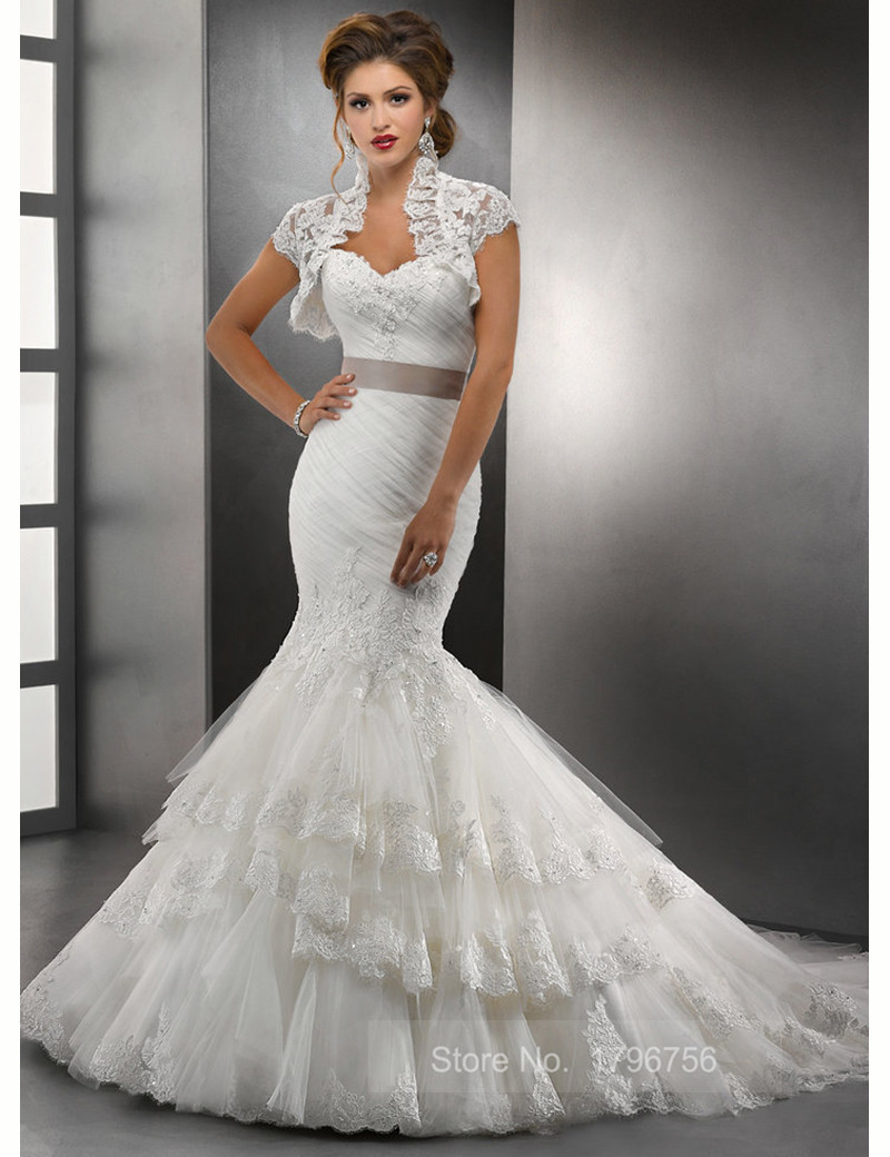 lace tulle with bolero jacket vestidos de noiva trumpet wedding dress
