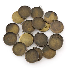 50Pcs 3Colors Inner20mm Necklace Pendant Setting Cabochon Cameo Base Tray Bezel Blank Fit 20mm Cabochons Jewelry Making Findings(China)