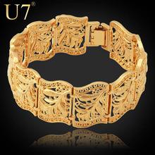 Vintage Bracelet Bangle Plant Pattern New Trendy Platinum/18K Real Gold Plated Women/Men Jewelry 20CM 22MM Chunky Bracelet H406(China (Mainland))