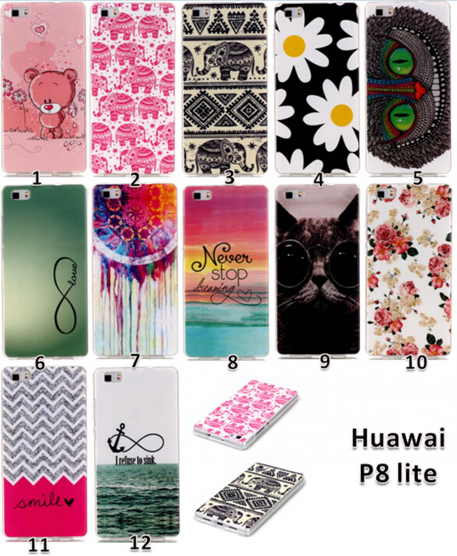 High Quality Ultra thin slim Painted Lovely Cartoon UV Print Hard Cover Case For Huawei P8 lite Case Cover(China (Mainland))