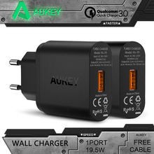 Aukey Quick Charge 3.0 Wall Charger EU US Plug USB Charger Mini Auto Travel Charger For iPhone Motorola HTC Google Lenovo