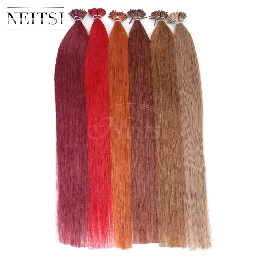 """Neitsi 20"""" Brazilian Remy Human Hair I Tip Stick Tip Keratin Fusion Hair Extensions 1g/s 50g 100g Straight Hair 16 Colors Option(China (Mainland))"""