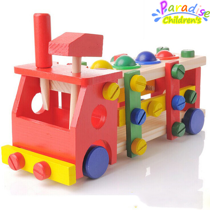 1Set Removable screws car wooden toys nut combination play education toy montessori toys child creativity developing toy <br><br>Aliexpress