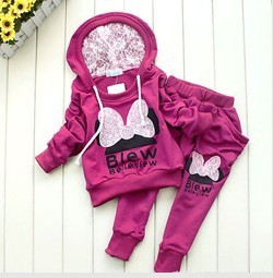BCS005 factory outlet children 2 pcs suit Cartoon girl clothing set hoodie+pants autumn baby set Retail Free shipping