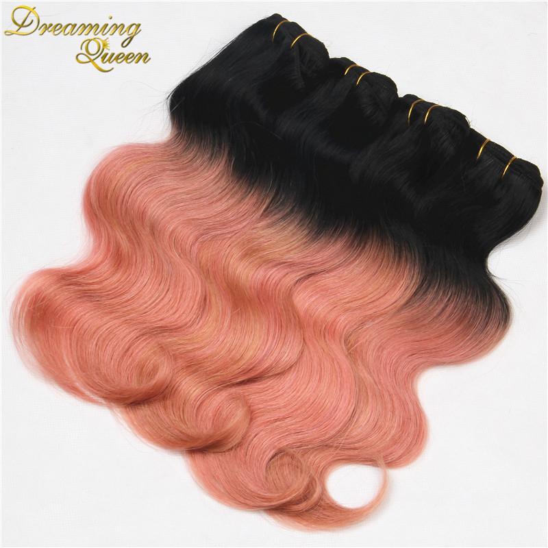 Rose Quartz Gold Ombre Peruvian Body Wave Virgin Hair Weave Bundles,4 pcs 7A Pink Gold Peruvian Ombre Human Hair Extensions(China (Mainland))